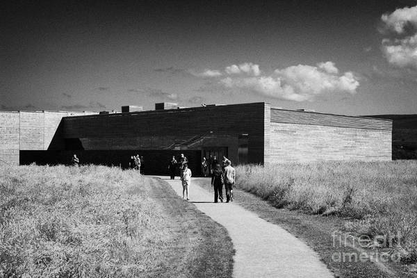 Visitors Art Print featuring the photograph visitors centre at Culloden moor battlefield site highlands scotland by Joe Fox