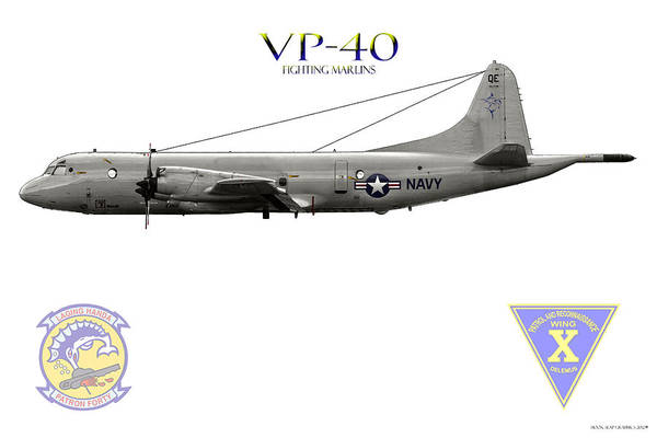 Art Print featuring the digital art Vp-40 Fighting Marlins by Clay Greunke