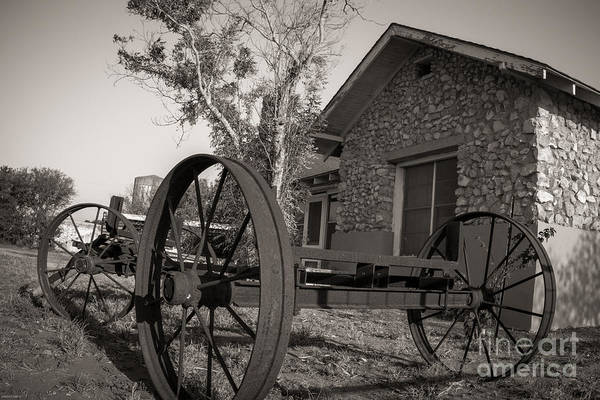 Wagon Wheel Art Print featuring the photograph Wagon Wheel At The Ranch by Sherry Davis