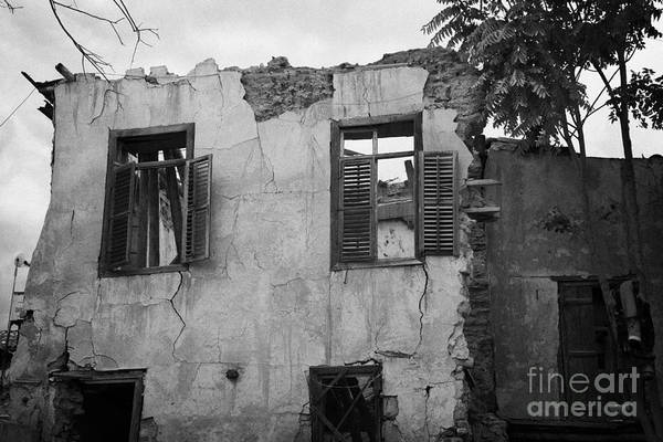 wall enclosing bombed out buildings no mans land and restricted area UN  buffer zone nicosia cyprus Art Print