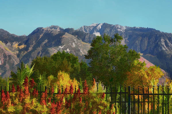 Wasatch Mountains Print featuring the painting Wasatch Mountains In Autumn Painting by Tracie Kaska