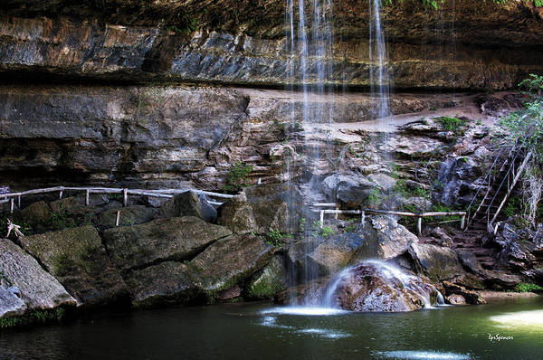 Water Art Print featuring the photograph Water Flow Over A Rock At Hamilton Pool by Lisa Spencer