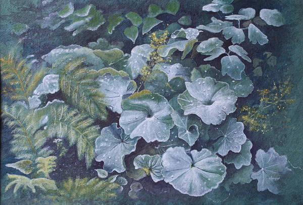 Surreal Landscape Art Print featuring the painting Weeping Ladies Mantle by Patsy Sharpe