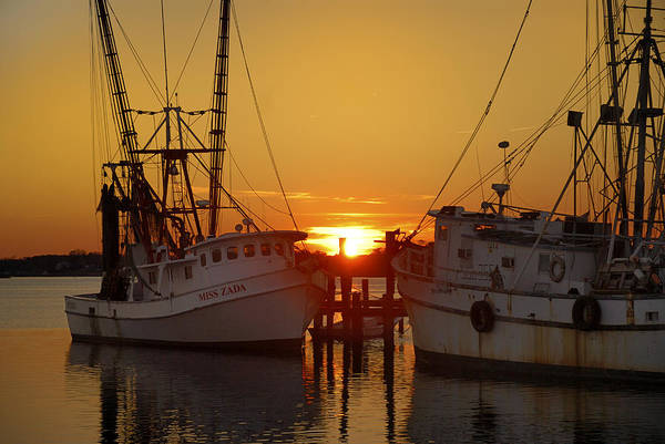 Boats Art Print featuring the photograph White Oak Sunrise by Mike Kennedy