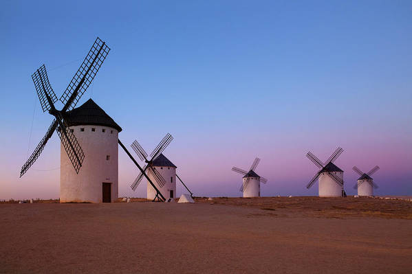 Horizontal Art Print featuring the photograph Windmills Of La Mancha - Central Spain by Steve Allen