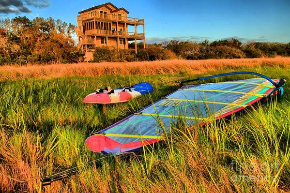 North Carolina Outer Banks Art Print featuring the photograph Windsurfers Waiting by Adam Jewell