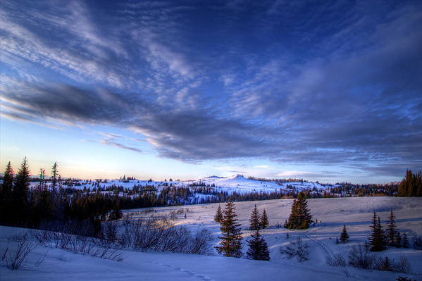 Sky Art Print featuring the photograph Winter Evening Clouds by Michele Cornelius