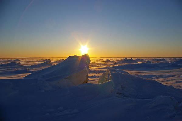 Landscape Art Print featuring the photograph Winter Ice Ridge Churchill River Manitoba by Desmond Raymond