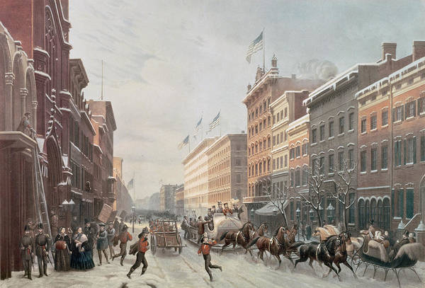 Winter Scene On Broadway Print featuring the painting Winter Scene On Broadway by American School