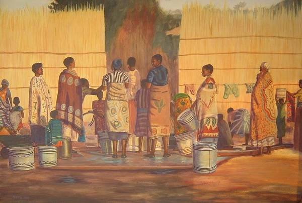 African Print featuring the painting Women At Bolehole by Nisty Wizy