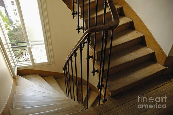 Elegance Art Print featuring the photograph Wooden Stairs In Traditional Parisian Building by Sami Sarkis