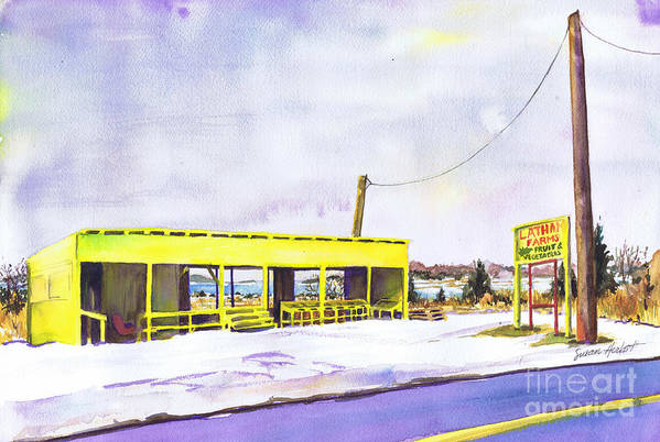 Farm Art Print featuring the painting Yellow Farm Stand Winter Orient Harbor Ny by Susan Herbst