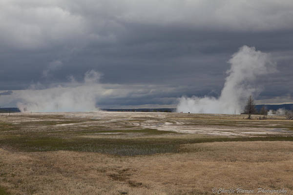 Geyser Art Print featuring the photograph Yellowstone Geysers2 by Charles Warren