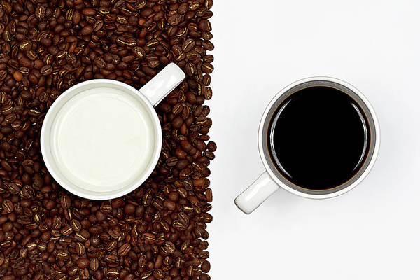 Horizontal Art Print featuring the photograph Yin And Yang Coffee And Milk by Gert Lavsen Photography
