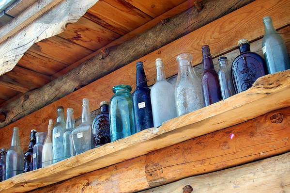 Bottles Art Print featuring the photograph Antique Bottles Blues by Heather S Huston