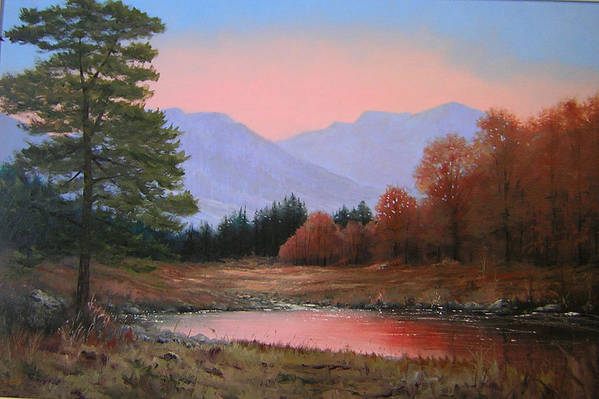 Landscape Art Print featuring the painting 051116-3020   First Light Of Day  by Kenneth Shanika