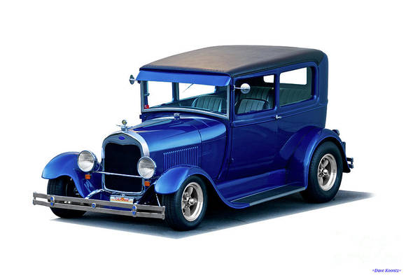 Auto Art Print featuring the photograph 1928 Ford Tudor Sedan I by Dave Koontz