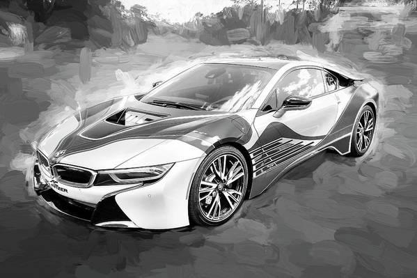 2015 Bmw I8 Hybrid Sports Car Bw Art Print By Rich Franco