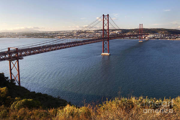 Abril Art Print featuring the photograph 25th Of April Suspension Bridge In Lisbon by Andre Goncalves