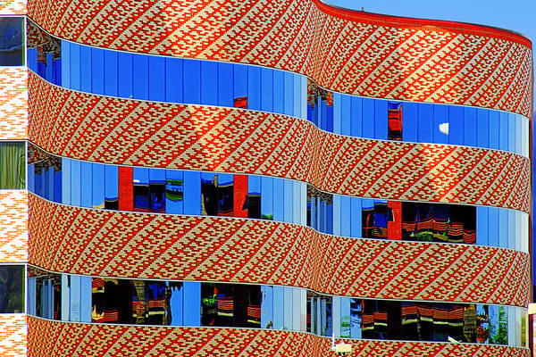 Facade Art Print featuring the photograph Abstract Reflections In Glass Tucson Arizona by Christine Till