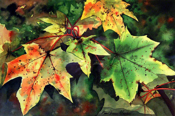 Watercolour Art Print featuring the painting Autumn Leaves by Paul Dene Marlor