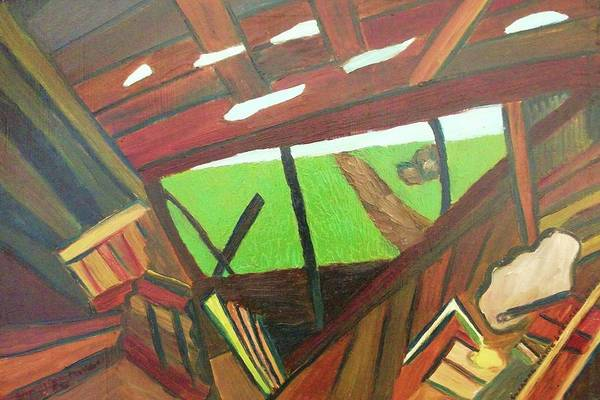 Yard Art Print featuring the painting Backyard View by Suzanne Marie Leclair