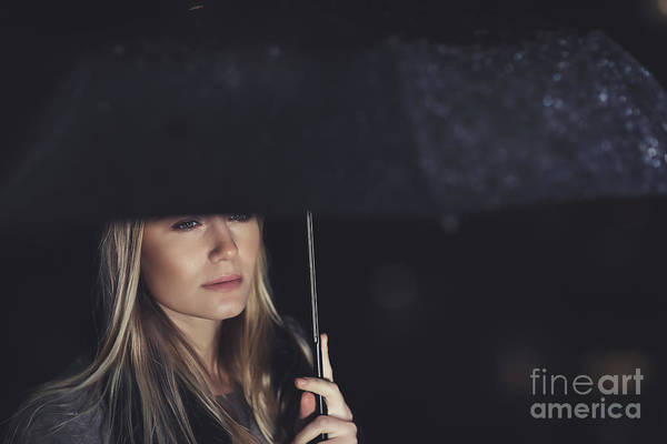 Adult Art Print featuring the photograph Beautiful Sad Woman Under The Rain by Anna Om