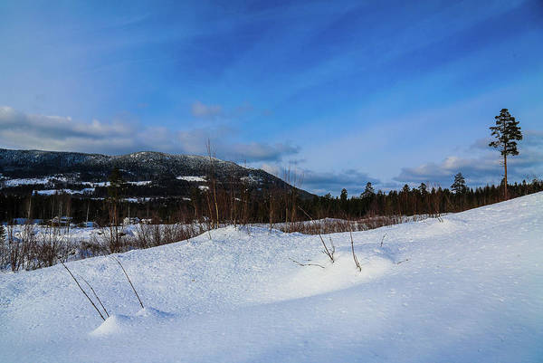 Hills Mountain Snow Clouds White Winter Countryside Panorama Photo Photography Nature Landscape View Nature Sky Trees Blue Outdoors Outdoor Activities Hiking Fieldtrip Norway Scandinavia Europe Rocks Rock Akershus Hurdal View Art Print featuring the digital art Blue Sky by Jeanette Rode Dybdahl