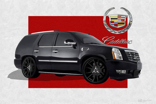 �cadillac� By Serge Averbukh Art Print featuring the photograph Cadillac Escalade With 3 D Badge 1 by Serge Averbukh
