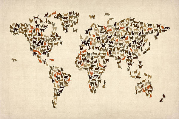 World Map Art Print featuring the digital art Cats Map Of The World Map by Michael Tompsett