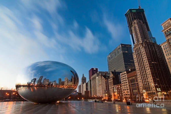 Chicago Skyline Art Print featuring the photograph Chicago Skyline And Bean At Sunrise by Sven Brogren
