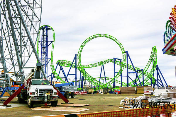 This Is A Photo Of New Rides Being Completed At The Seaside Heights Boardwalk In New Jersey. Art Print featuring the photograph Construction by William Rogers