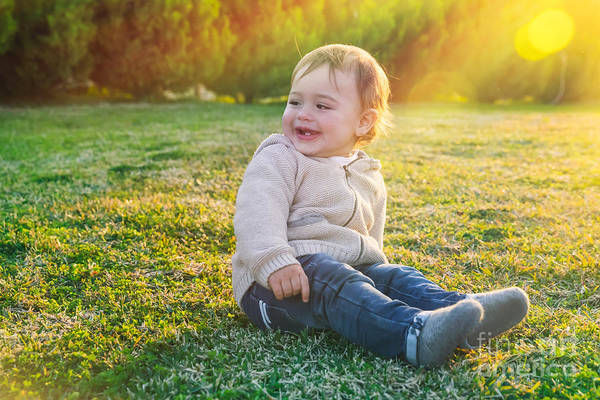 Adorable Art Print featuring the photograph Cute Baby Boy Outdoors by Anna Om