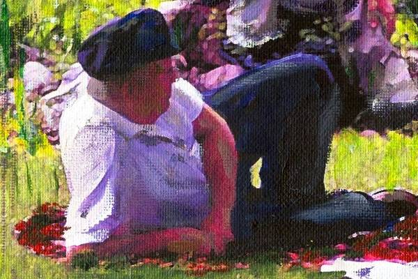 Lake Art Print featuring the painting Detail Of Picnic By The Lake by Randy Sprout