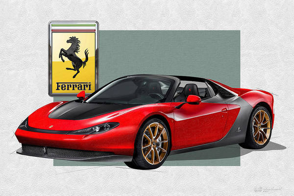 �ferrari� Collection By Serge Averbukh Art Print featuring the photograph Ferrari Sergio With 3d Badge by Serge Averbukh