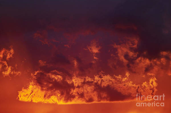 Sunset Print featuring the photograph Fiery Clouds by Michal Boubin