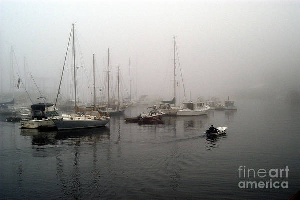 Ships Art Print featuring the photograph Foggy Camden Harbor by Neil Doren