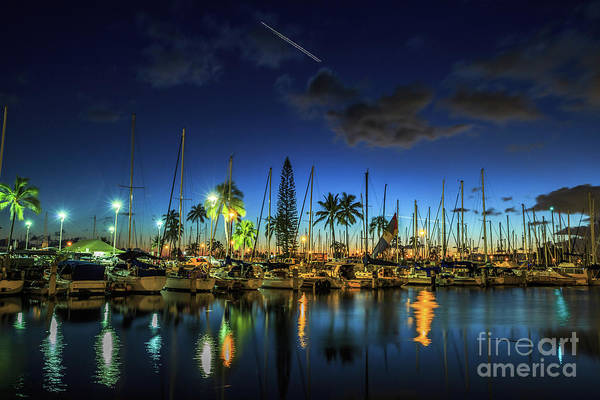 Ala Wai Harbor Art Print featuring the photograph Honolulu Harbor By Night by Benny Marty
