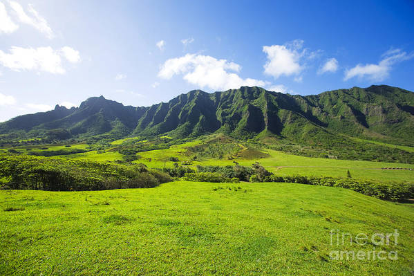 Beautiful Art Print featuring the photograph Kaaawa Valley And Kualoa Ranch by Dana Edmunds - Printscapes