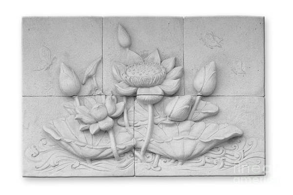 Ancient Art Print featuring the relief Low Relief Cement Thai Style by Phalakon Jaisangat