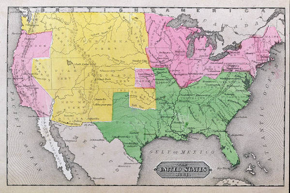 Map Art Print featuring the painting Map Of The United States by John Warner Barber and Henry Hare