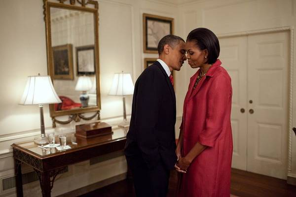 History Art Print featuring the photograph President And Michelle Obama Wait by Everett