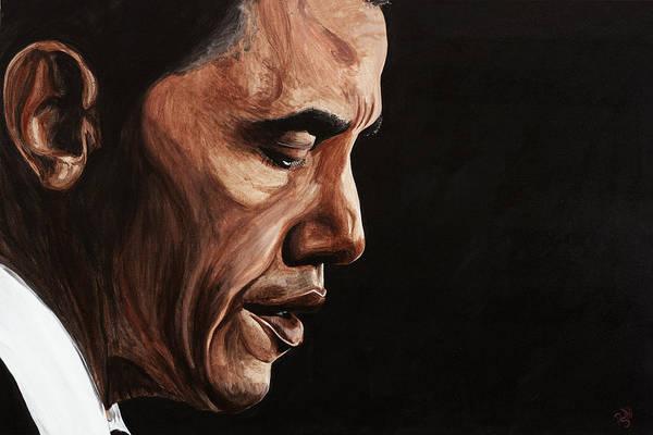 Portrait Art Print featuring the painting President Barack Obama Portrait by Patty Vicknair