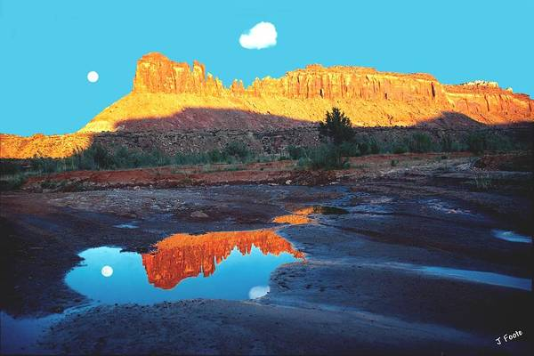 Red Rock Art Print featuring the photograph Reflective Intentions by John Foote