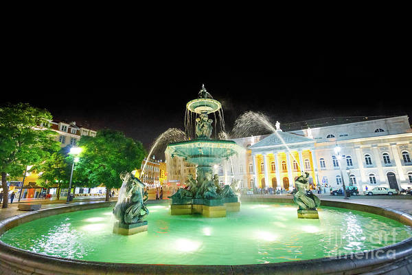 Lisbon Art Print featuring the photograph Rossio Square Lisbon by Benny Marty
