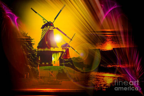 Sunset Art Print featuring the painting Sailing Romance Windmills by Walter Zettl