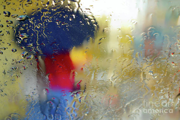 Abstract Print featuring the photograph Silhouette In The Rain by Carlos Caetano