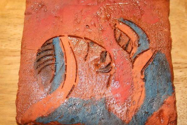 Jesus Art Print featuring the ceramic art Smiles - Tile by Gloria Ssali