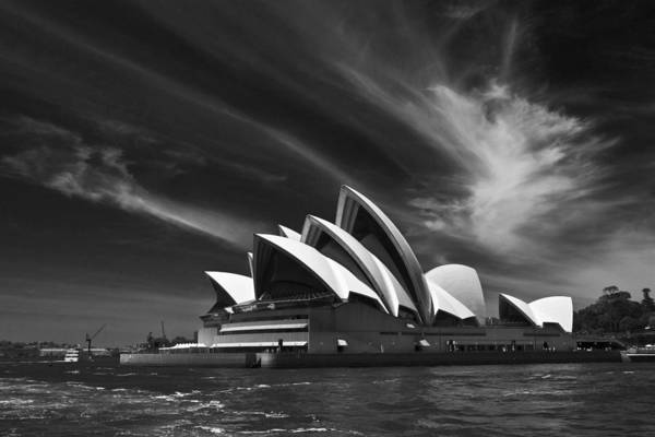 Sydney Opera House Monochrome Art Print featuring the photograph Sydney Opera House by Sheila Smart Fine Art Photography
