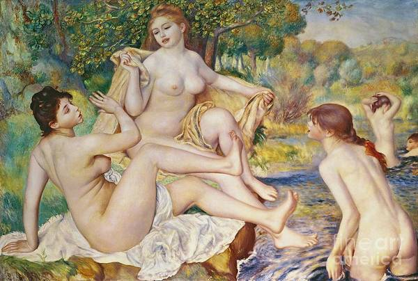 The Art Print featuring the painting The Bathers by Pierre Auguste Renoir